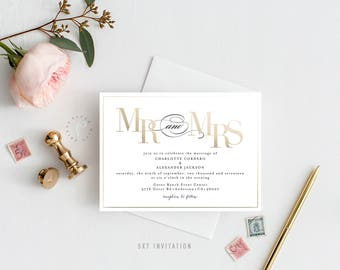 CHARLOTTE SUITE || Printable Wedding Suite, Mr. and Mrs., Faux Foiling, Gold Foiling, Invitation, Thank You, RSVP