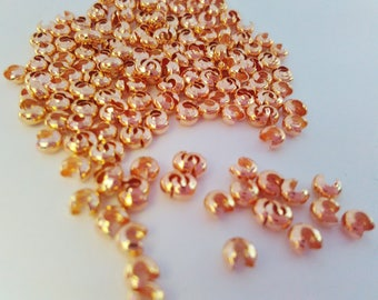 Rose Gold Crimp Covers 3mm, Pack of 50, Crimp Bead Ends Covers, Bead Ends Crimps, Wire Covers, Gold Jewelry Making Findings Supplies