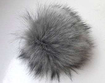 Size M (charcole grey- black tips) faux fur pom pom 5 inches/ 13cm