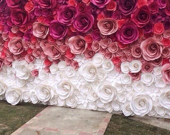 Wedding Backdrop - Bridal Shower Decoration - Giant Paper Flowers - Large Paper Flowers - Paper Flower Backdrop