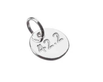 Free Shipping, Running Charms, Hand Stamped Sterling Silver 42.2 Running Charm, 42.2 Necklace, Running Charms, Running Jewelry, Running