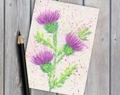 ACEO collectable, original watercolour, Scottish thistles, original painting, watercolor painting, thistles painting, miniature painting