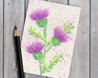 ACEO collectable, original watercolour, Scottish thistles, original painting, watercolor painting, thistles painting, miniature painting