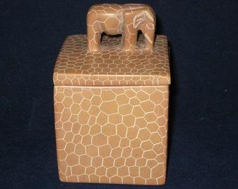 Ceramic Elephant Box/Vintage Elephant Trinket Box/Unique Ceramic Box/Vintage Trinket Box/1987