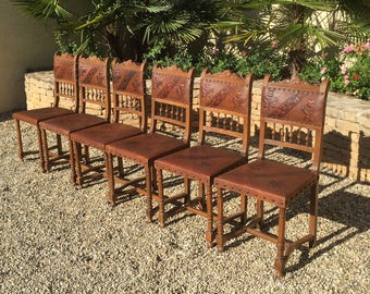 Antique French Dining Chairs Pressed Leather Seats and Backs Set of Six Floral Design #7198