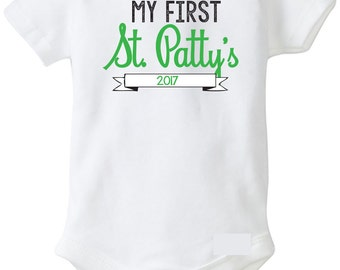 My First St. Patrick's Day 2017 Outfit, St. Patty's Day Onesie, St Patricks Day Onesie