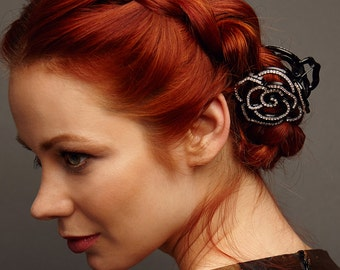 Flower Hair Clip Flower Crystal Hair Clip Black Hair Claw Clip Wedding Hair Clip Rhinestone Hair Clip Flower Hair Accessory Hair Clip Claw