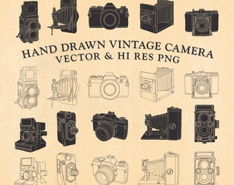 Hand Drawn Vintage Camera Clipart Clip art, Hand Drawn Camera Clipart Clip Art PNG & Vector EPS, AI Design Element Instant Download