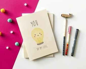 You Light up my Life - A5 Notebook - Jotter - Sketchbook - Plain Notebook - Lightbulb - Cute - Happy - Bright - Gift - Stationery