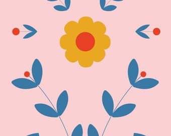 """Wall Art Print, """"Best Wishes Floral"""", Plant Art, Foliage Print, Modern Wall Art, Pastel Print"""