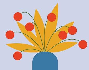 """Wall Art Print, """"Pom Pom Planter"""", Floral Print, Plant Art, Foliage Print, Modern Wall Art, Pastel Print"""