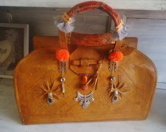 Vintage  Morocco leather bag, small travel bag, Leather  handcraft bag 70/80s,large Handbag ,