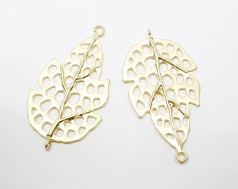 P0497/anti-Tarnished Matte Gold Plating Over Brass/Dried Leaf Pendant Connector/20x36mm/2pcs