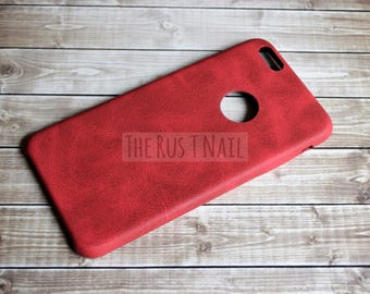 FREE SHIPPING - Red iPhone 6 Plus Ultra Slim Leather Case