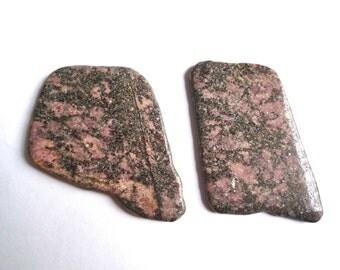 2 rhodonite slabs, Tumble polished stone slab, Pink and black organic shaped stone, 2.5 x 2 inch slabs