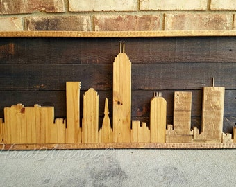 Rustic and Reclaimed Wood Indianapolis Indiana Skyline with LED lights! Indiana signs. Completely handmade