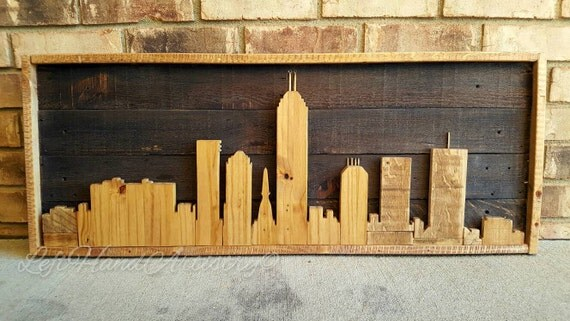 Like this item? - Rustic And Reclaimed Wood Indianapolis Indiana Skyline With