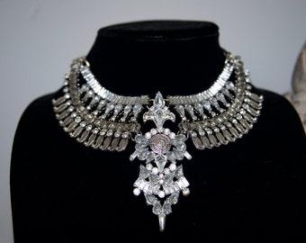 Luxury Rhinestone Evening Big Necklace Statement Necklace Bridal Necklace Bib Necklace Crystal Necklace Trendy Necklace