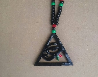 Triangle red black and green Eye of Heru necklace