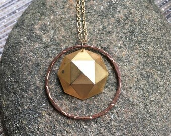 Recycled Mixed Metal Geometric Necklace