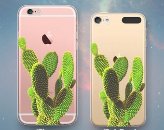 Cactus Tree Round Spiky Leaves Desert Southwestern Western Fun Awesome Cool Clear Rubber Case for iPhone 7 6s 6 Plus SE 5s 5 5c iPod Touch