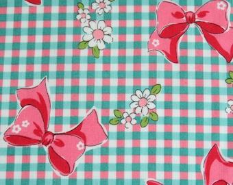 1/2 yard Yuwa Atsuko Matsuyama Japan - Ribbon Bow Gingham - AT826155 - Mint