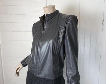 New Wave Leather Jacket in Gray- 1980s / 80s Short Futuristic Cyber Sheplers