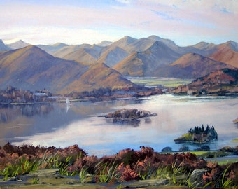 Catbells from Walla Crag signed print.