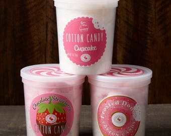 Scrumptious Sweets Cotton Candy Trio: Cupcake, Chocolate Strawberry, Frosted Donut Cotton Candy