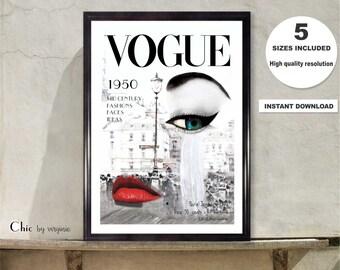 Vogue Print, Instant Download, Vogue Cover 1950, Wall Art, Fashion Wall Art, Vogue Printable, Vogue Poster, Vogue Illustration Vogue Art