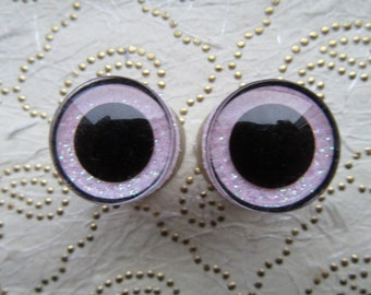 Beanie Boo 20 mm pink colored eyes, sparkling safety eyes pink, safety eyes 20 mm pink, dolls eyes 20 mm, amigurumi eyes sparkling 20 mm