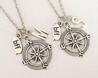 2 compass necklace - Bff necklace - friendship necklace -  personalize necklace  - girlfriend gift Birthday