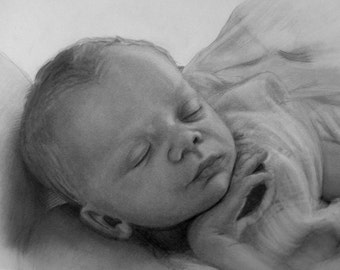 Custom baby portrait/Portrait from your photo/ Gifts for parents/ Gifts for new mothers/ drawing from photo