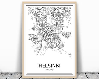 Helsinki Map Print, Helsinki Print, Finland Print, Modern City Poster, Finland Art Print, Minimalist Map, Printable City Map, Black City Map