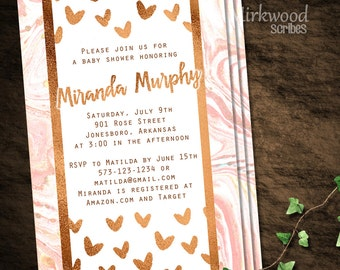 Pretty Marble and Rose Gold Shower Invitation |  Pink Marble and Rose Gold Baby Shower Invite 5x7