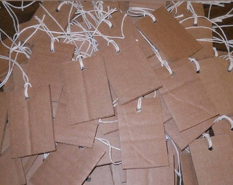 """35pcs 3"""" by 2"""" Recycled Cardboard Hand Cut Primitive Hang Tags with 12"""" Twine Price Tags Gift Tag Holiday Twine String"""