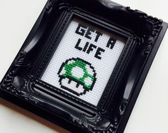 Get A Life | Mario | Retro | SNES | Sassy | Geek | Gamer | Gift | Framed | Cross Stitch