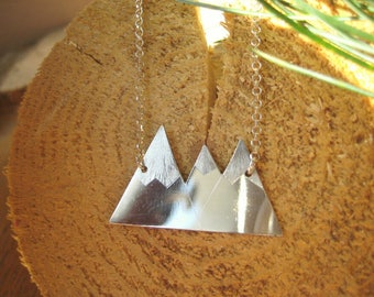 Sterling Silver Medium Three Peaked Snowy Mountain Necklace