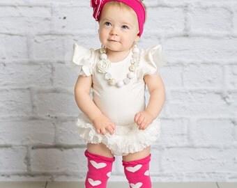 3pc Birthday Photo Set - Leo, Bloomer and heart Lace Ruffle Leg Warmers with Lace Ruffle!
