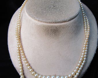 Vintage Double Stranded Graduated Off White Faux Pearl Necklace With Rhinestone Clasp