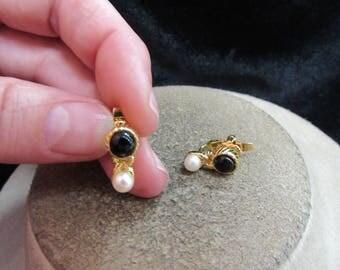 Vintage Pair Of Black Glass Beaded Faux Pearl Clip Earrings
