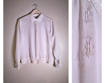 80s sheer white Alfred Dunner lightweight dressy blouse