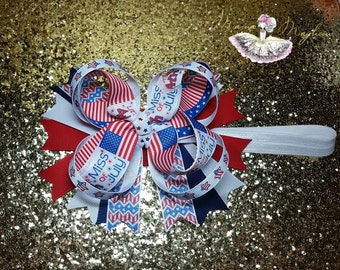 Little Miss 4th of July bow