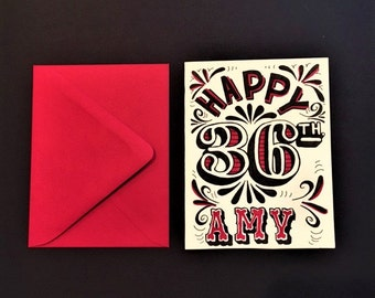 red black and white hand lettered customized happy birthday card