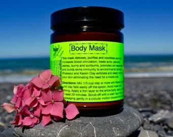 Body Mask 9 oz.-Detoxifying! Organic/ Full body exfoliation/ Increases circulation/ Nourishes Skin/ Treats body acne.
