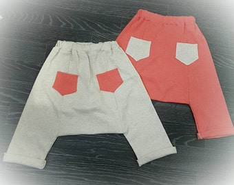 Handmade item, jersey fabric, trendy boys clothing, trendy girls clothing, Super baggy harem pants from 12-18 months to 5 years