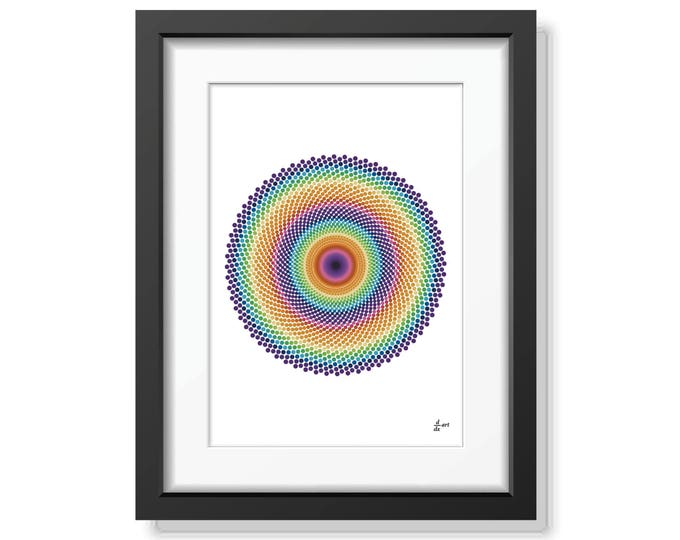 Fibonacci spirals 01 [mathematical abstract art print, unframed] A4/A3 sizes