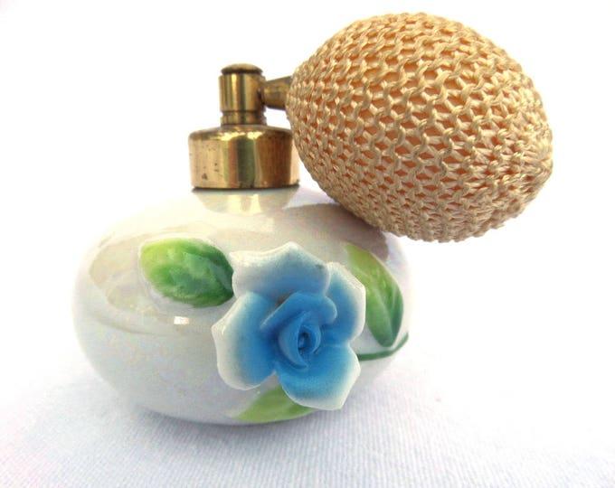 "Porcelain Perfume Atomizer, Genuine Japanese Porcelain, Circa 1950, Blue Floral Applique, 2.25"" x 3"" (including balloon) Decorative Only"