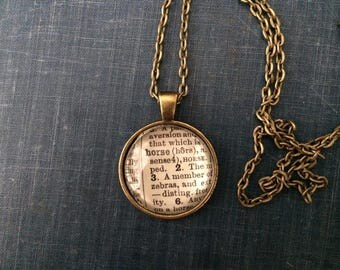 HORSE Vintage Dictionary Word Pendant