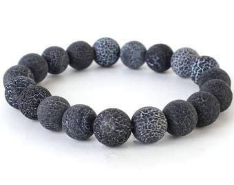 Natural Stone Stretch Bracelet in Jet Black